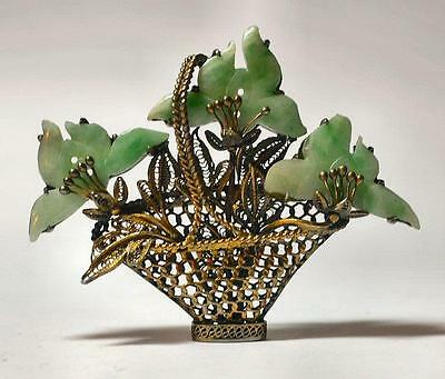 Antique Chinese Silver Filigree & Jade Flower Basket Pin w Gold Wash