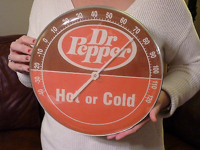 """Vintage Dr. Pepper 12"""" Round Metal & Plastic Thermometer Advertising Sign Soda"""