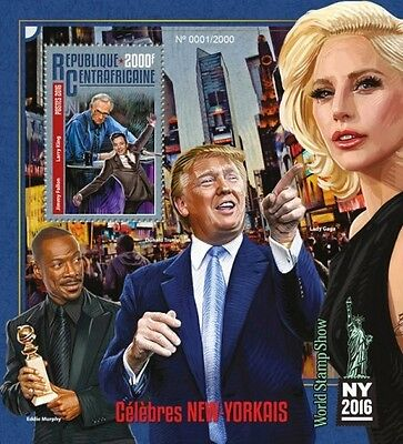 Z08 Imperforated CA16115b CENTRAL AFRICA 2016 New York celebrities Donald Trump