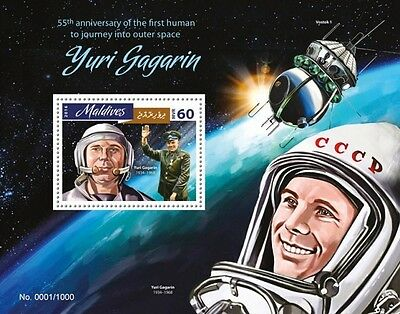 Z08 IMPERFORATED MLD16405b MALDIVES 2016 Yuri Gagarin MNH