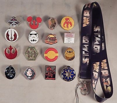 Star Wars Themed Starter Lanyard Set with 5 Assorted Disney Trading Pins ~ NEW