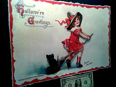 3-D Poster Halloween Witch Vintage postcard  Leather like feel large 11x17