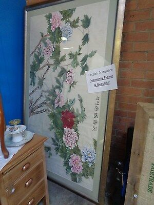 ORIGINAL ASIAN HAND PAINTED SILK WALL HANGING Large Framed Flower Picture Art