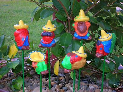 Set of 6 Mexican men garden ornament cement plaster craft latex moulds molds