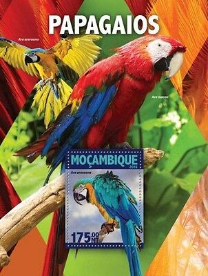 Z08 IMPERFORATED MOZ16129b MOZAMBIQUE 2016 Parrots MNH