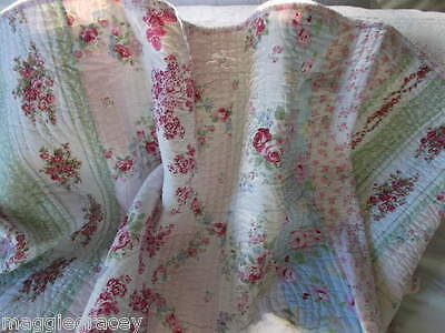 Shabby Cottage Chic  Pink Roses Queen Quilt And Shams Simply Gorgeous New !!!!!