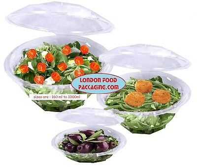 CLEAR PLASTIC DISPOSABLE ROUND SALAD BOWLS WITH HINGED LIDS 160ml to 1000ml