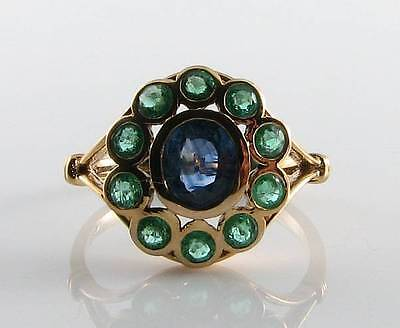 Large 9Ct Gold Sapphire & Emerald Victorian Insp Cluster Ring Free Resize