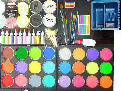 Ultimate Professional Face Paint Starter Kit 7 Face Painting Art Supplies