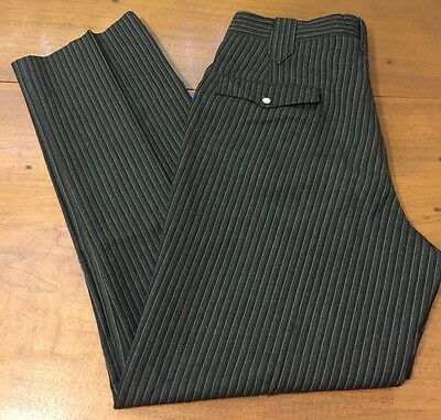 Mens Vintage 50s Wool Trousers Pearl Snaps Western Square Dance Pants 34 X 32
