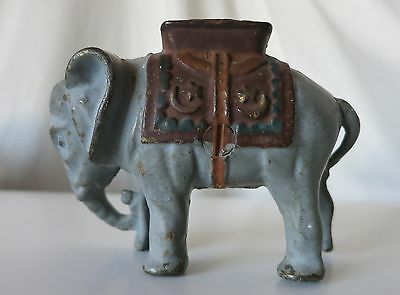 Elephant With Howdah (Medium) Painted Vintage Cast Iron Bank