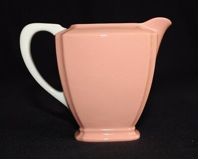 Rare vintage Lenox Porcelain Creamer Coral / Salmon with White Handle, Old Mark