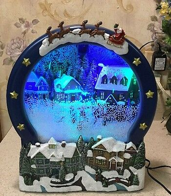 "HOLIDAY LIVING ANIMATED w/BLOWING SNOW MUSICAL SCENE LIGHTED SNOW GLOBE 12"" Tall"