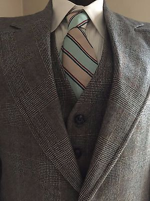 """Mens Vtg 3 Pc SUIT Houndstooth Plaid Wool 42R USA 36""""W X 32"""" Inseam Vincenzo"""