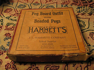 "Antique J.L. Hammett Company ""Peg Board Outfit With Beaded Pegs"" Game"