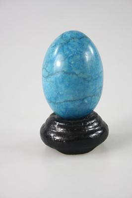 Vintage Polished Stone Egg Figure With Wooden Stand