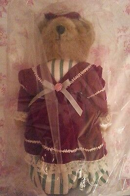 New 1995 Avon Victorian Teddy Plush Bear with stand and COA