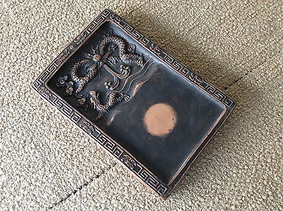Chinese OLD MUD INK STONE 泥硯 [Dragon in cloud] / W 17× D24.5 × H 2.6 [cm] 1.5k