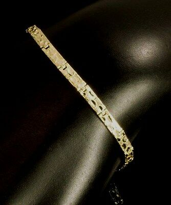 Real 10K Yellow Gold Nugget Style Bracelet in Diamond Cut Design