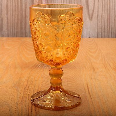 L.E. Smith Amber Goblet Glass Daisy And Button Vintage