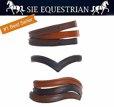 """15"""" /16"""" / 17"""" Empty Channel Padded Leather Browbands for Bridles"""
