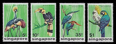 1975 Singapore Birds Kingsfisher Crowned Cranes Cookatoo Macaw Mint Very Lh