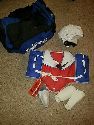 WTF Taekwondo Sparring Gear Protectors Guards TKD  Set with bag