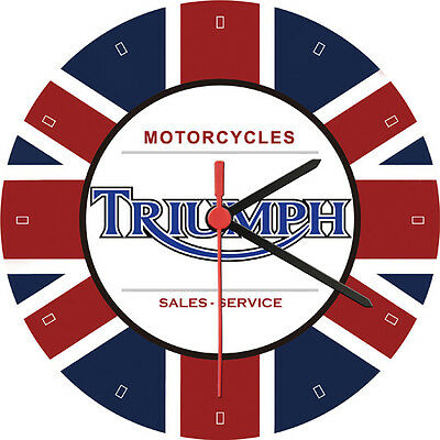 Triumph Motorcycle Sales Service Union Jack Advertising Wall Clock