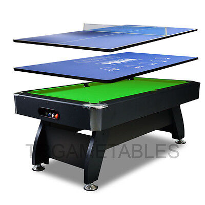 7FT Timber / MDF Pool Table with Poker & Table Tennis Top for Snooker Billiards