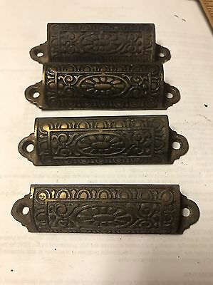 Antique EASTLAKE Cast Iron Brass Finish Hardware Set of 4 Drawer Pulls Ornate