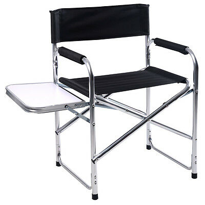 Black Aluminum Folding Directors Chair W/ Side Table Camping Outdoor Garden Arms