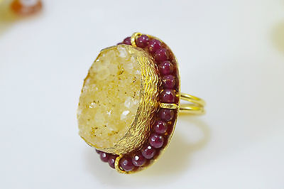 Ottoman Gems semi precious gem stone ring gold plated Druzy Turkish handmade