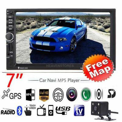 "GPS HD 7"" Double 2 Din Car MP3 Player Radio Touchscreen Bluetooth USB/TF/FM/TV"
