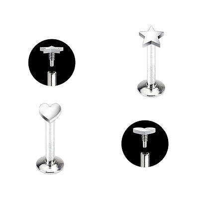 piercing labret vis interne inversé 3 longueurs de tiges disponibles LAB 100400