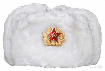 Russian ARMY WINTER MILITARY FUR HAT USHANKA with SOVIET STAR Badge