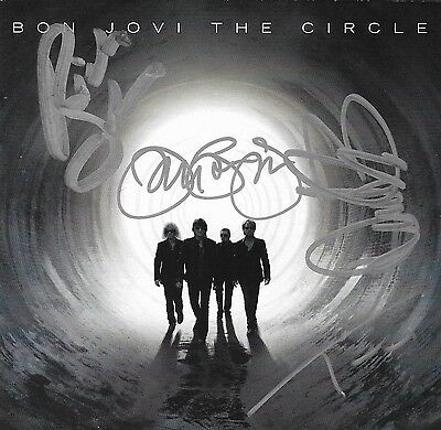 Bon Jovi band REAL hand SIGNED The Circle CD All 4 Members Autographed #1 COA