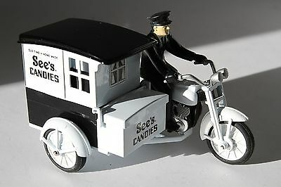 See's Candy Delivery Motorcycle Harley w/ Rider & Side Car Diecast Iron Toy Bank