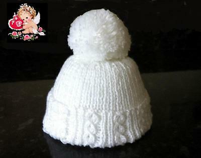Hand Knitted Newborn Baby PomPom Hat - In Soft, Pure White Baby Wool