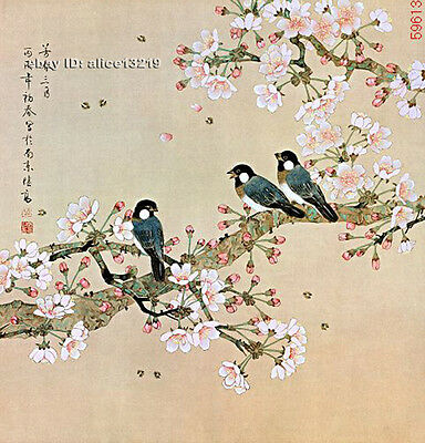 Chinese 100% real natural silk thread,su hand embroidery kits:birds on branch fl