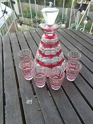 Val St Lambert Crystal Decanter Set Cranberry Cased Cut to Clear-Six Glasses