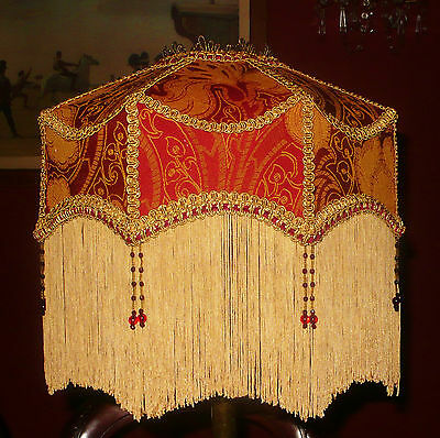"""Duchess A Victorian  Downton Deco Beaded Lampshade.brick Red & Gold Brocade 14"""""""