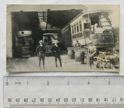 Photo of Taunton & W. S. Tramways - Trams & Staff in Tram Shed