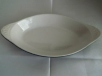 """H.F. COORS BLACK VELVET OVAL Serving Dish 529 Made in USA 10 1/2"""" across"""