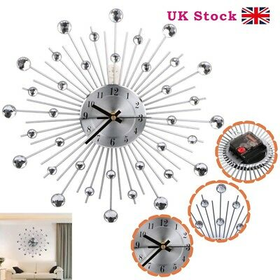 33cm Handcrafted Diamante Beaded Jeweled Sunburst Black Silver Wall Clock 122 UK