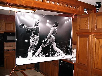 HUGE 46x32 MUHAMMAD ALI vinyl BANNER POSTER joe FRAZIER boxing. rocky creed!!