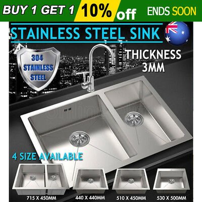 3MM Thick Handmade Stainless Steel Sink Bowl Under/Topmount Single Double AU
