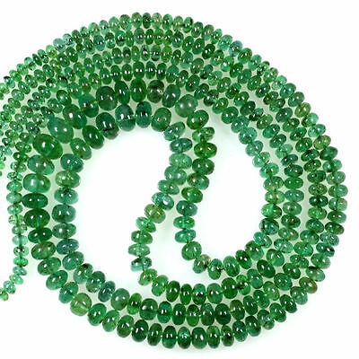 147.95 Cts Natural lustrous Top Green Emerald Rondelle Beads Necklace Zambia 2L