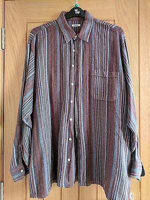 Vintage Oversized Flannel Shirt XL Striped Long Sleeve Shirt