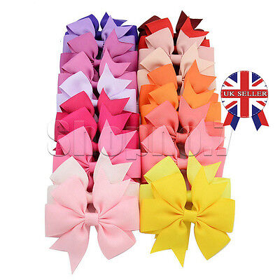 20 Handmade Bow Hair Clip Alligator Clips Girls Ribbon Kids Sides Accessories #2