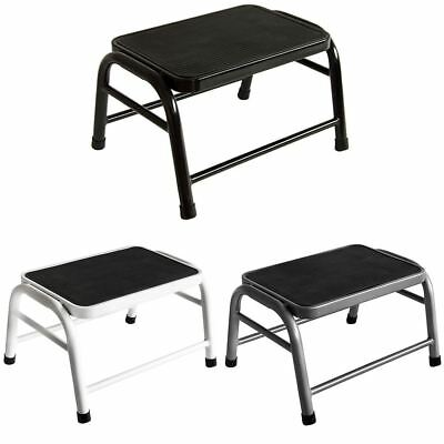 One Step Stool Compact White Black Silver Anti-Slip Grip Rubbet Mat DIY Bathroom